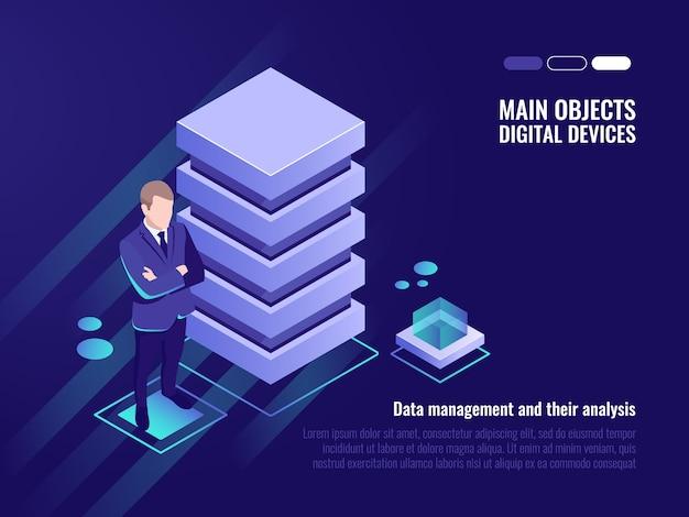 Серверная стойка, управление и анализ данных, баннер компьютерных технологий
