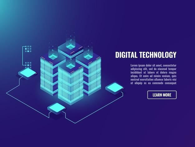 Большой центр обработки данных, концепция обработки данных, серверная комната, технология облачных хранилищ