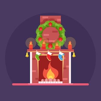 Рождество, милый мультфильм горящий камин, рождественские украшения венок