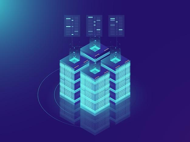 アイソメトリックサーバルームと大きなデータ処理コンセプト、データセンターとデータベースのアイコン