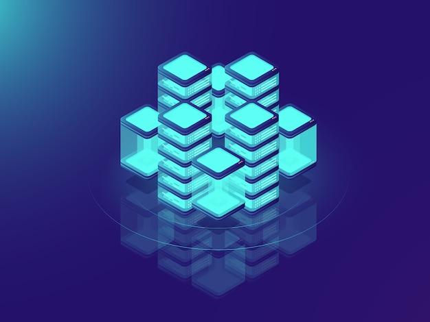 Инфраструктура сети или мэйнфрейма, серверная комната и датацентр