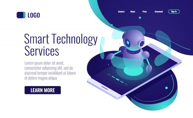 スマートテクノロジーアイコンアイソメトリック、人工知能ロボットアシスタント、チャットボット