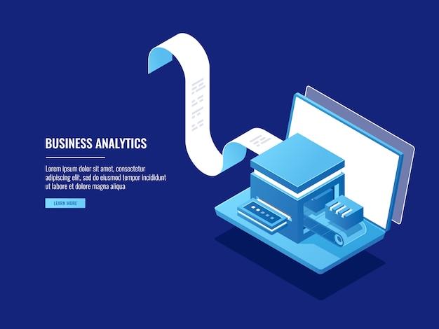 データアーカイブ、情報ブロック、クラウドストレージ、電子ファイリングの概念、ラップトップ