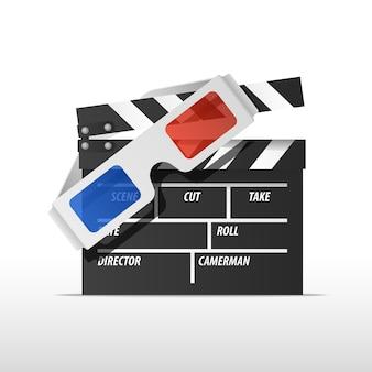 ヴィンテージスタイルの映画とフラッパーのための白い紙のメガネ。