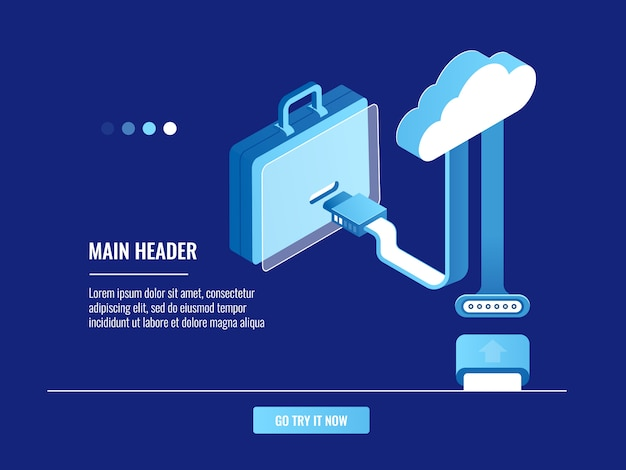 オンラインポートフォリオのコンセプト、クラウドデータストレージ、情報ウェアハウス