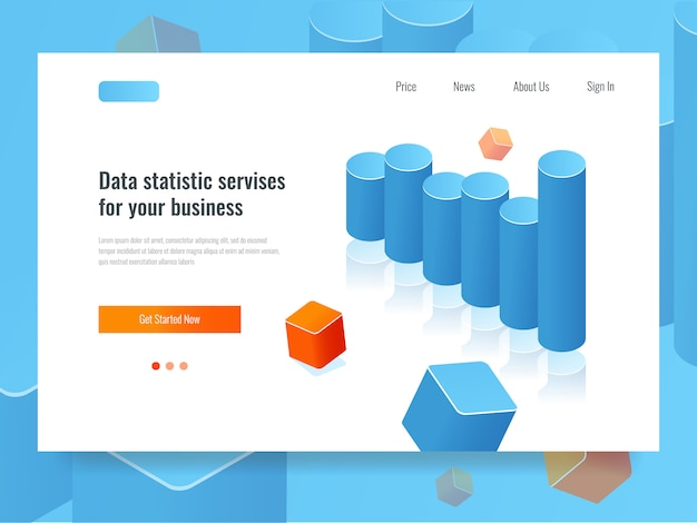 Гистограмма баннер, статистика и планирование концепции, бизнес-аналитика