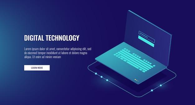 画面上の認証フォーム、個人データの保護および処理を行うオープンノートパソコン