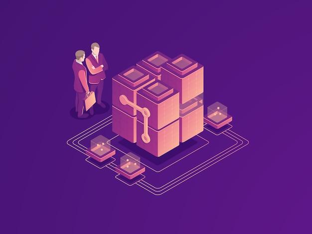自動化されたビジネスプロセスのコンセプト、サーバールームラック、データセンター、データベースのアイコン
