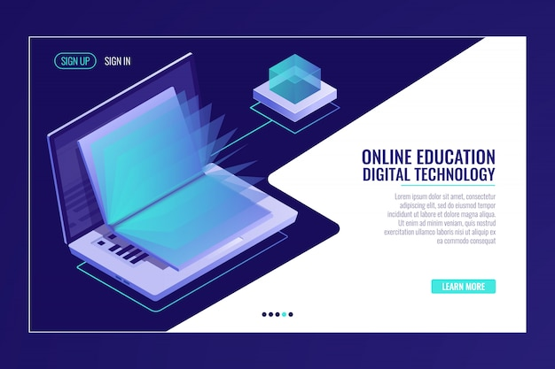 開いている本、オンライン教育の概念、電子図書館の学習とラップトップ