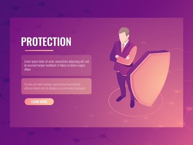 金融の安全性とリスク保護、シールドを持ったビジネスマン、データ保護の概念