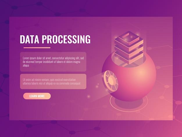 ビッグデータ処理の概念、抽象的な未来的なクラウドストレージ、サーバールーム、データベース