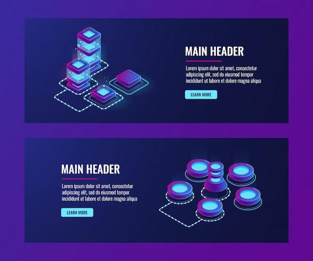 サーバールーム、大型コンピュータネットワーク、ネットワーキング、接続、ビッグデータストレージおよび処理