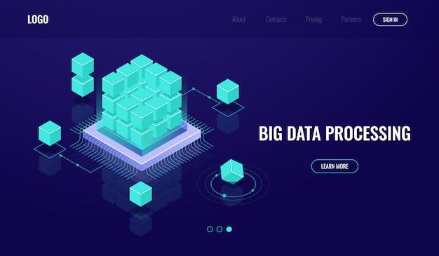 Серверная комната, большие данные, облачные вычисления, искусственный интеллект, обработка данных, база данных