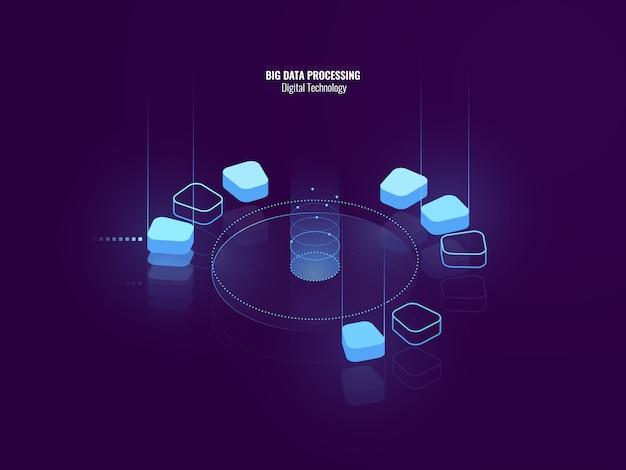 デジタル技術の素晴らしい等尺性バナー、ビッグデータ処理の等尺性の抽象的なアイコン
