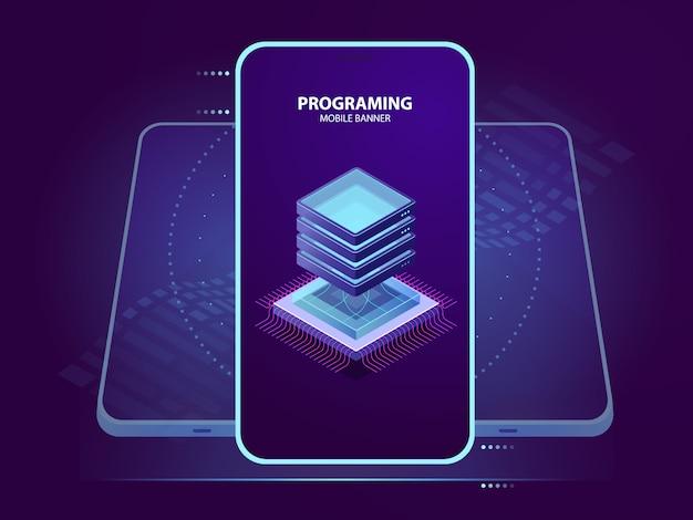 Мобильный баннер разработки и программирования мобильного приложения, изометрическая иконка серверной комнаты, данные