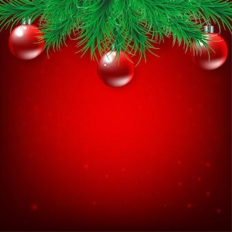 Рождество и новый год на красном фоне с еловыми ветками и елочным шаром, вектор и иллюстрация
