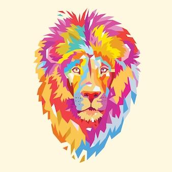 ライオンヘッドフルカラー動物ロゴ