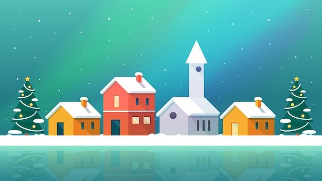 Городская сельская местность в зимнем пейзаже на рождество