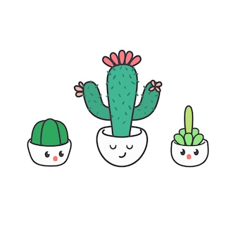 Симпатичные кактус мультфильм характер дизайн векторной иллюстрации