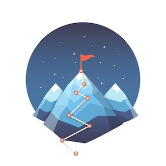 Успех достижения цели и победа концепции векторных иллюстраций