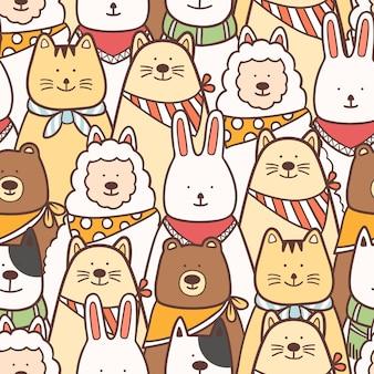 カラフルな動物シームレスパターンの背景