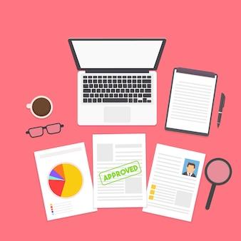近代的なデザインのビジネスプロセスコンセプトのラップトップとの作業