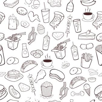 Быстрое питание рисованной каракули бесшовный фон картины