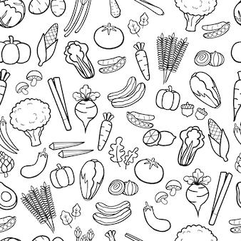 手作りの野菜は、落書きのシームレスなパターンの背景を描いた