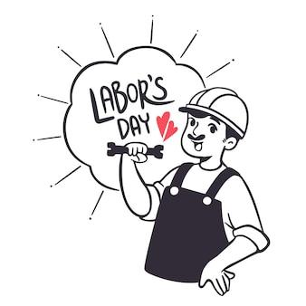 幸せな労働者の日イラスト手描きスタイル