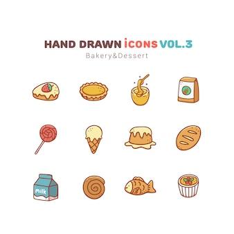 パン屋さんとデザートの手描きアイコン