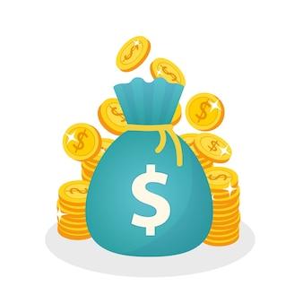 コインとお金のバッグのベクトルのスタック