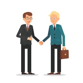 Бизнесмен, рукопожатие мультяшный вектор