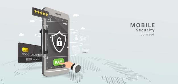 モバイル決済コンセプトバナー。非接触型決済または携帯電話によるセキュリティと保護。スマートフォンで買い物。指紋。