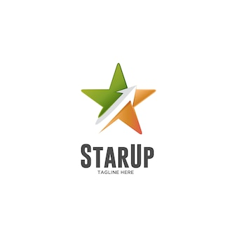 星と矢印のロゴでスターアップ