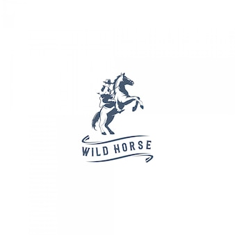 野生の馬のロゴ