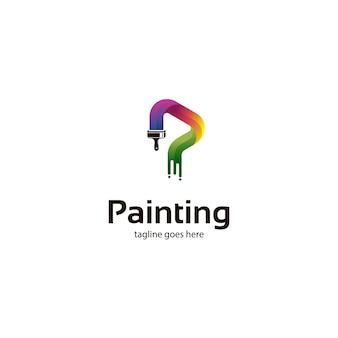 ペイントブラシのロゴとカラフルな絵画
