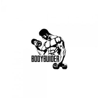 Культурист человек тренажерный зал фитнес логотип