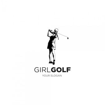 Женщина играет в гольф силуэт логотипа