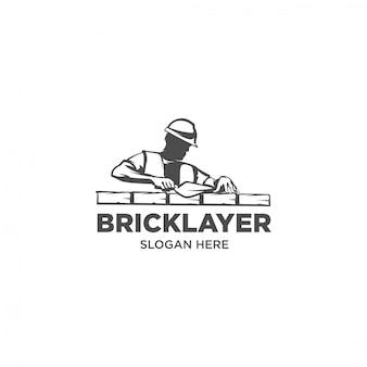 石工作業煉瓦工シルエットロゴ