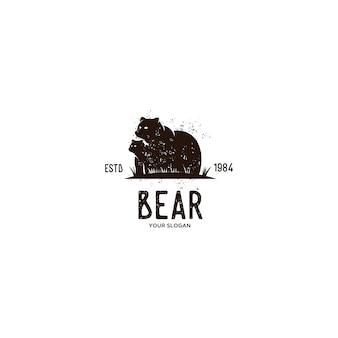 Винтажный логотип медведь животных