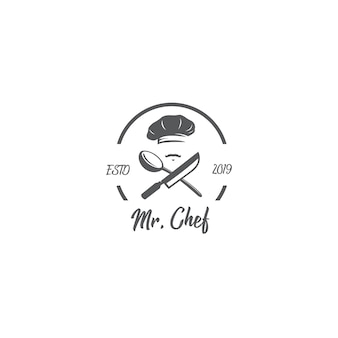 Шеф-повар старинный логотип