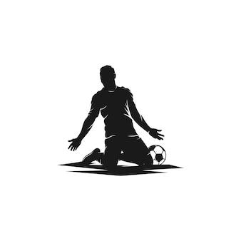 お祝いサッカー選手のシルエットのロゴ
