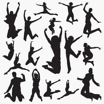 女性の跳躍のシルエット