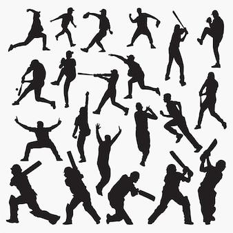 クリケット野球のシルエット