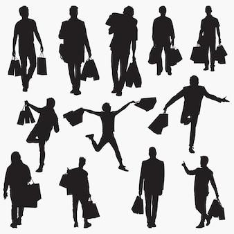買い物袋のシルエットを運ぶ男