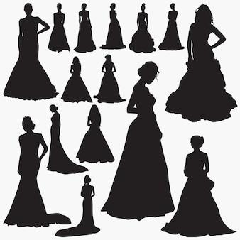 ウェディングドレスのシルエット