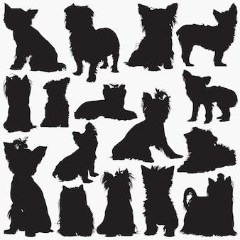 ヨークシャーテリア犬のシルエット