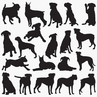 ボクサー犬のシルエット