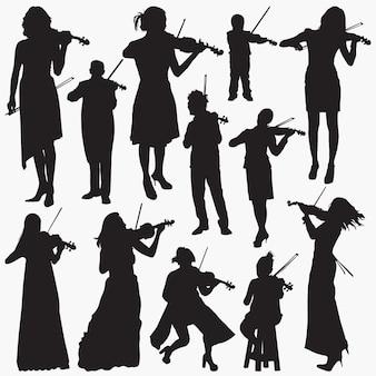 Скрипач силуэты