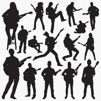 Люди играют на гитаре силуэты